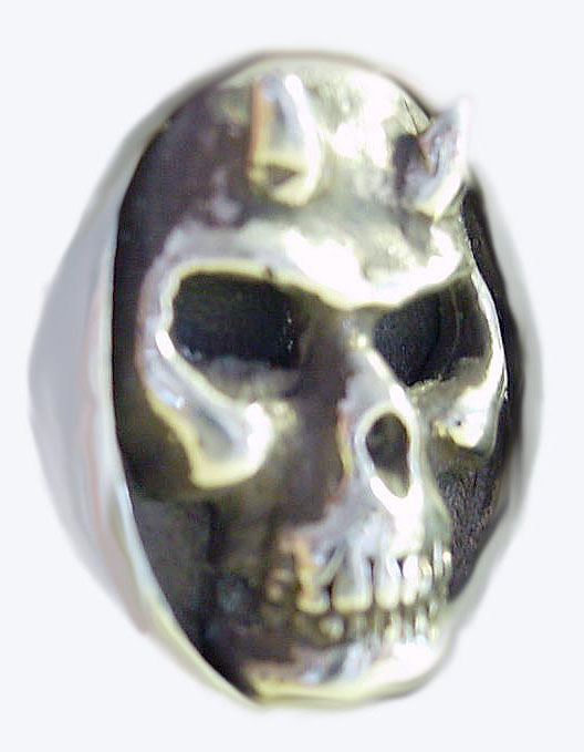 Flat Skull w/Horns Oval Ring-2pc-Gold