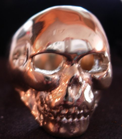 Med. Skull Ring-Closed Mouth-Gold
